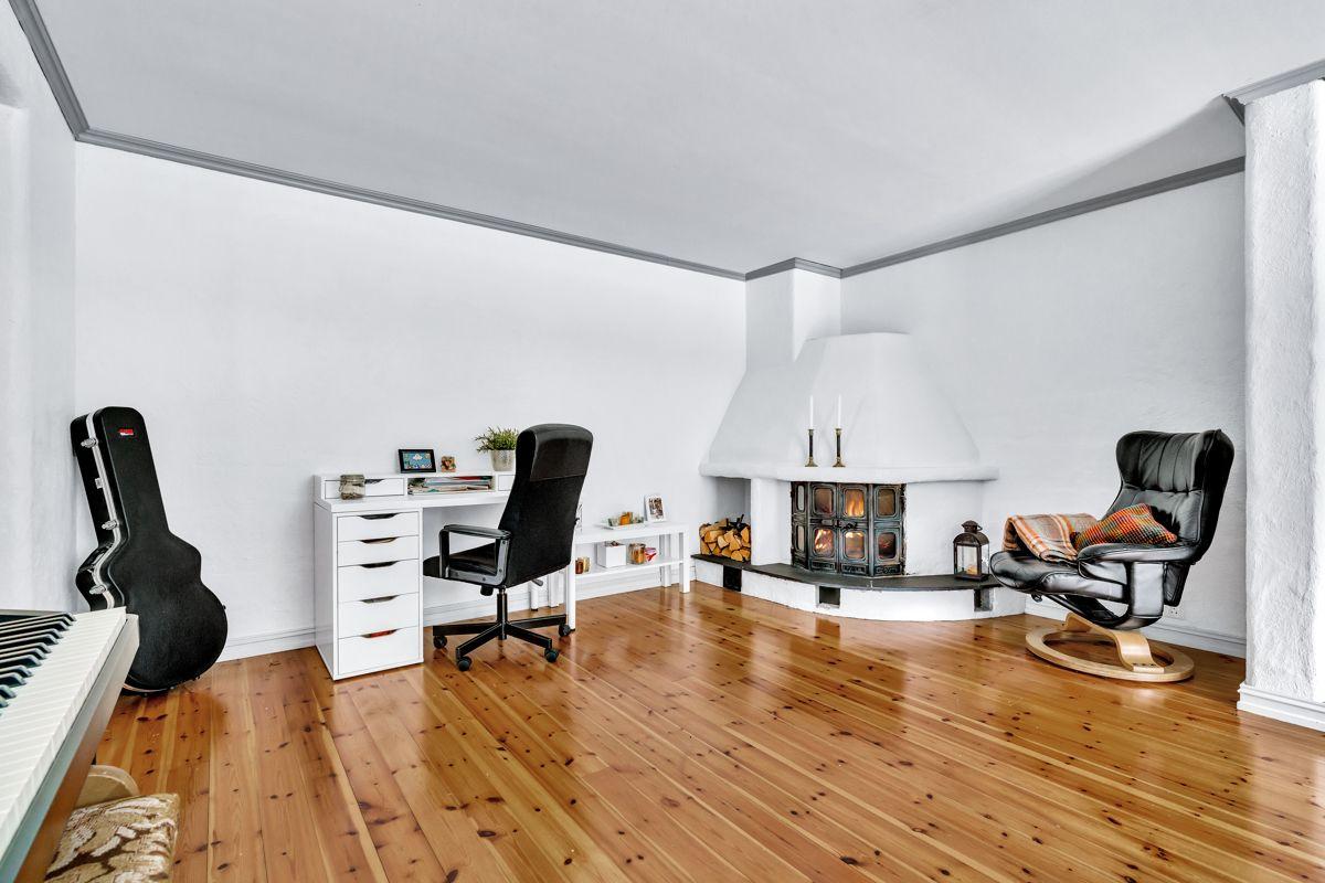 Krokfaret 13 Størrelsen og stuens utforming gjør den enkelt å møblere.