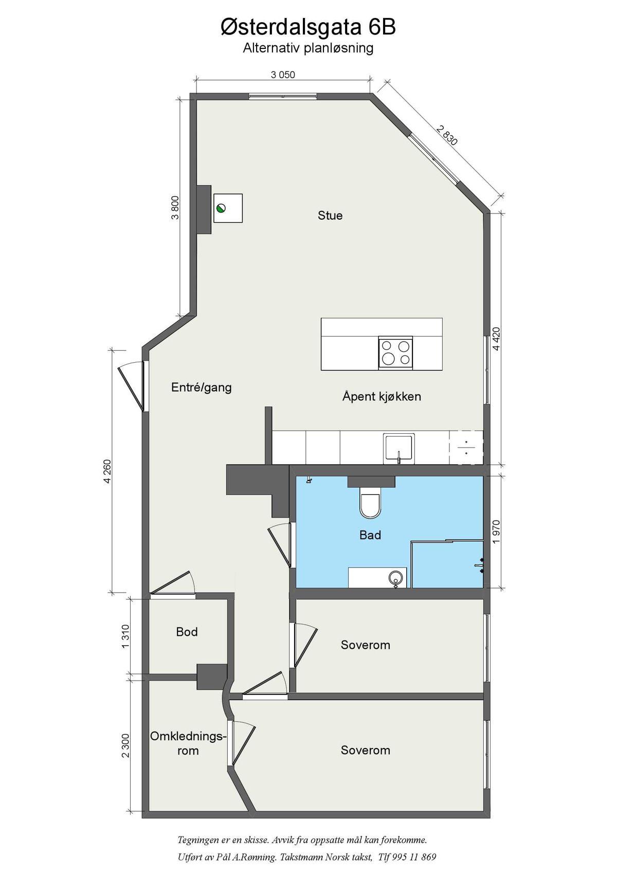 Østerdalsgata 6B Planløsningen er godt tilrettelagt for å kunne etablere en 3-roms planløsning med å gjøre om soverommet.