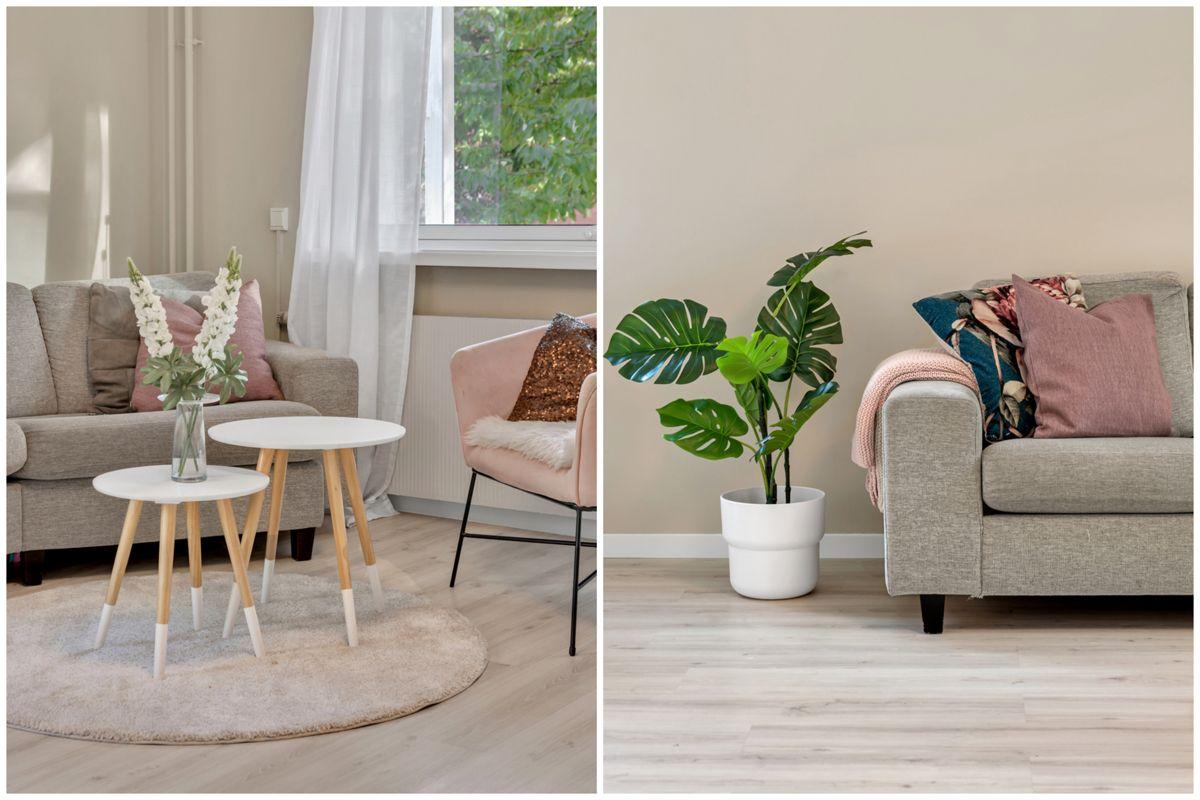 Karl Staaffs vei 51 Du har en naturlig plass til både sofagruppe, spisebord og TV med tilhørende møblement.