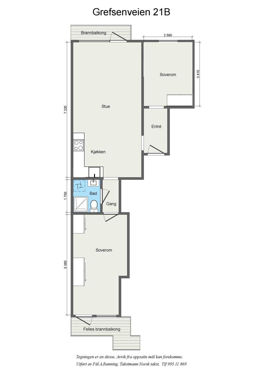 Grefsenveien 21A Det er mulighet for å lage en 3-roms ved å flytte kjøkkenet ut i stuen.