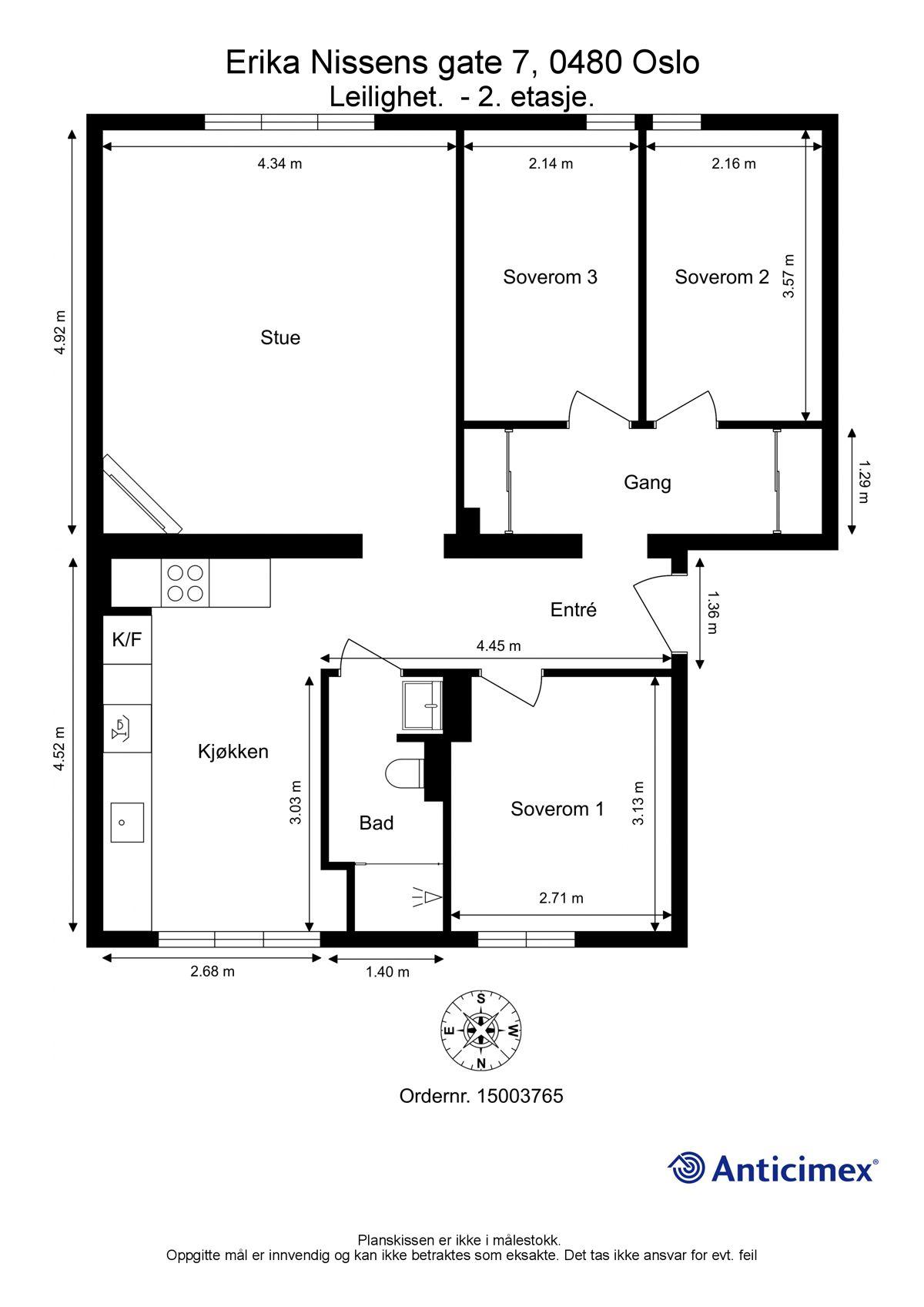 Erika Nissens gate 7 Plantegning. I tillegg disponerer leiligheten en kjellerbod på ca. 5m², samt en loftsbod på ca. 3m².