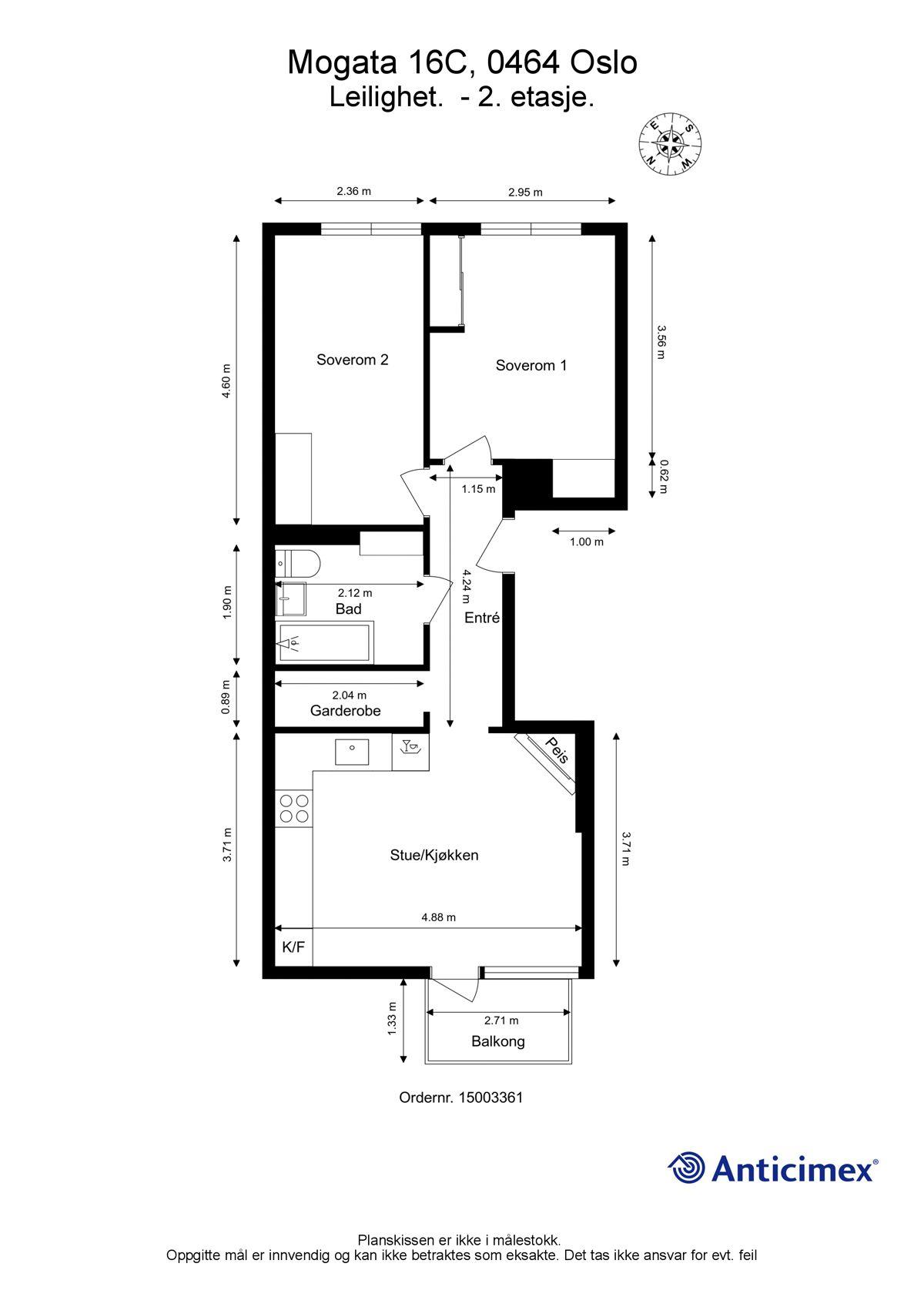 Mogata 16 C Plantegning. I tillegg disponerer leiligheten tre kjellerboder på ca. 3 m², 2 m² og 1,5 m².
