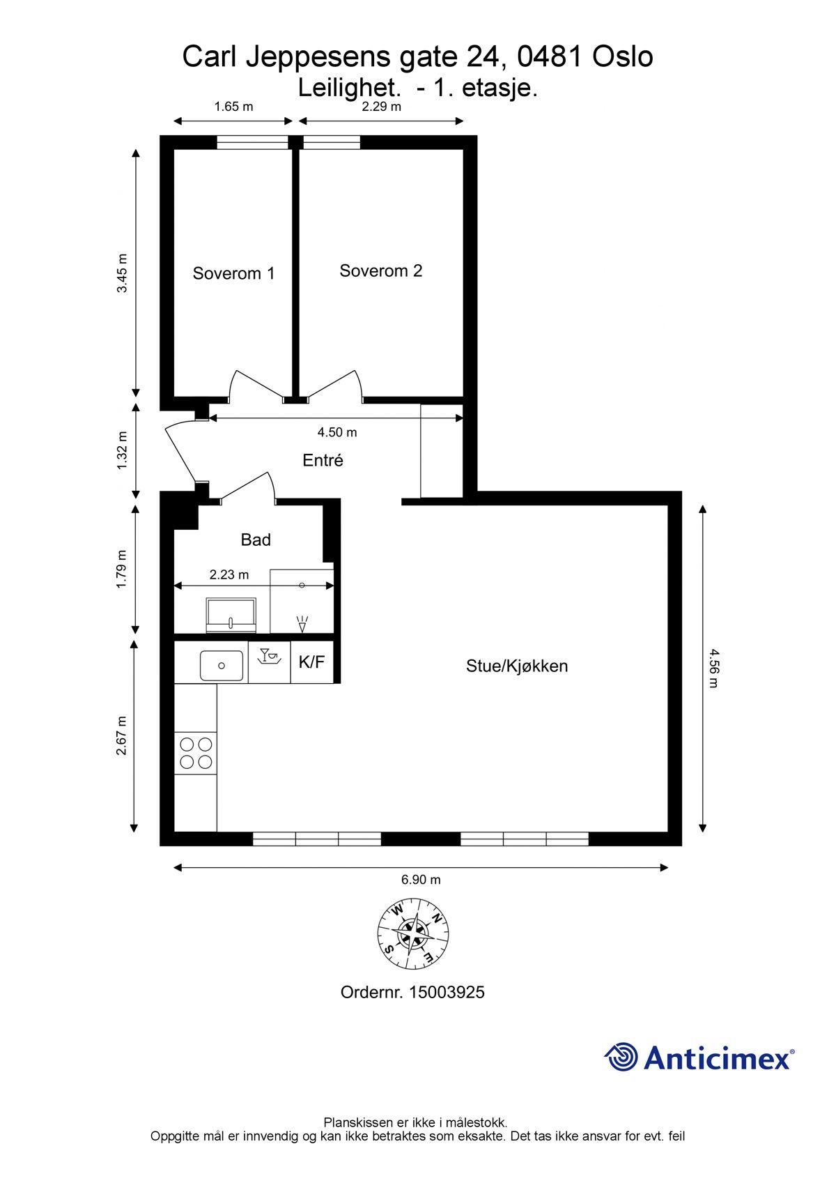Carl Jeppesens gate 24 Plantegning. I tillegg disponerer leiligheten en kjellerbod på ca. 7m².