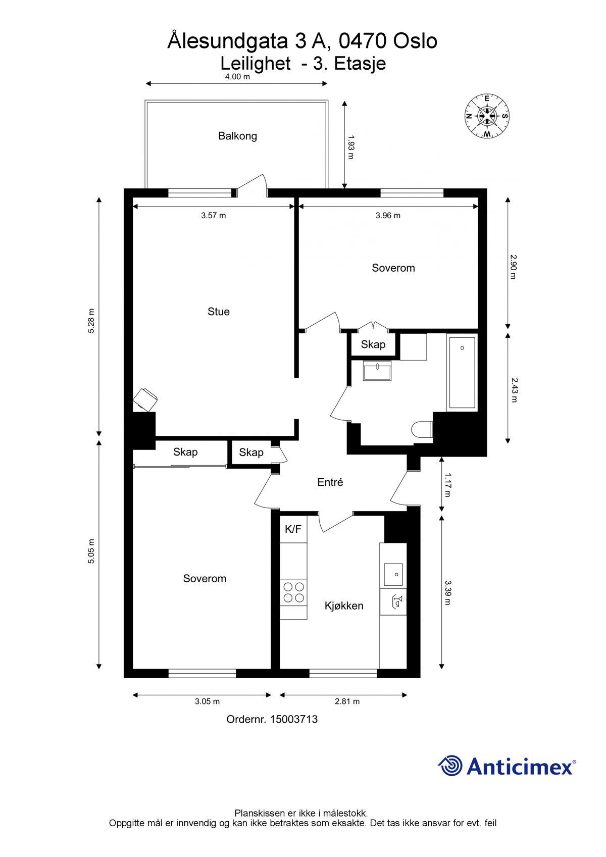 Ålesundgata 3 A Plantegning. I tillegg disponerer leiligheten to kjellerboder på henholdsvis ca. 4,7m² og ca. 2m², samt en loftsbod med gulvareal på ca. 7,5m².