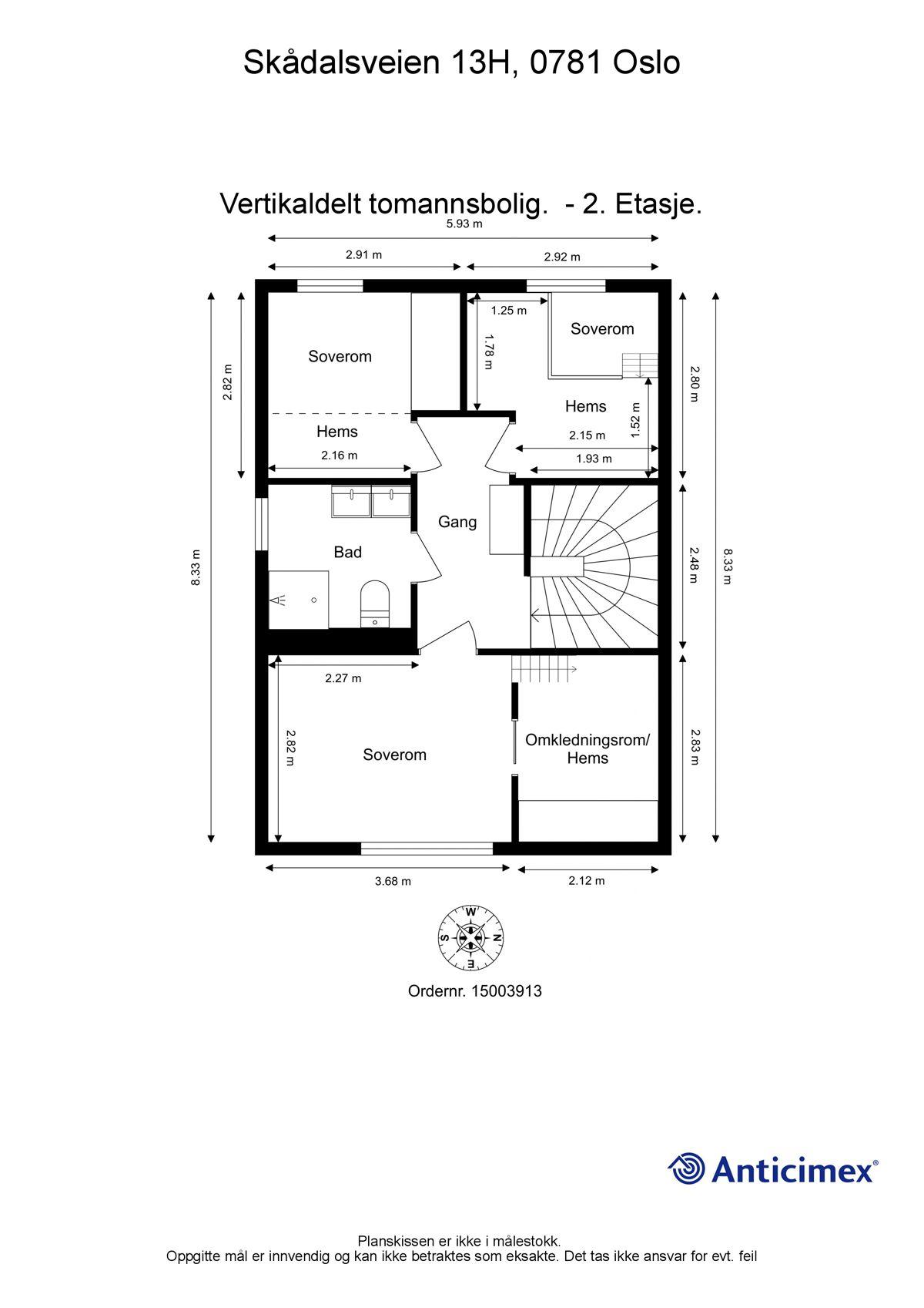 Skådalsveien 13H Plantegning - 2. etasje.