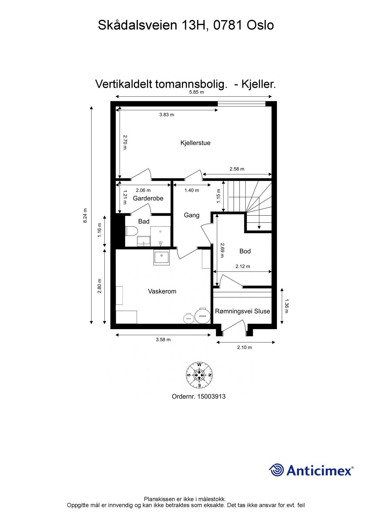 Skådalsveien 13H Plantegning - U. etasje.