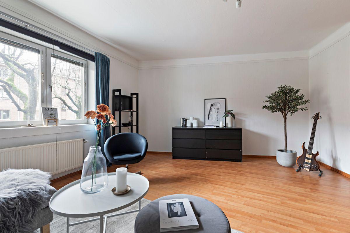 Grenseveien 11B I stuen er det god plass til sofagruppe, TV-seksjon, hyller, spisebord og annet ønsket møblement.