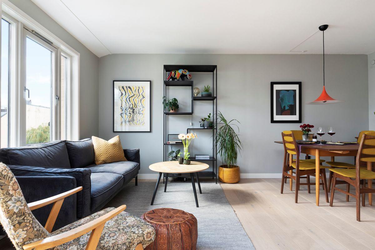 Heimdalsgata 37 I stuen er det god plass til sofagruppe, TV-seksjon, hyller og spisestue.