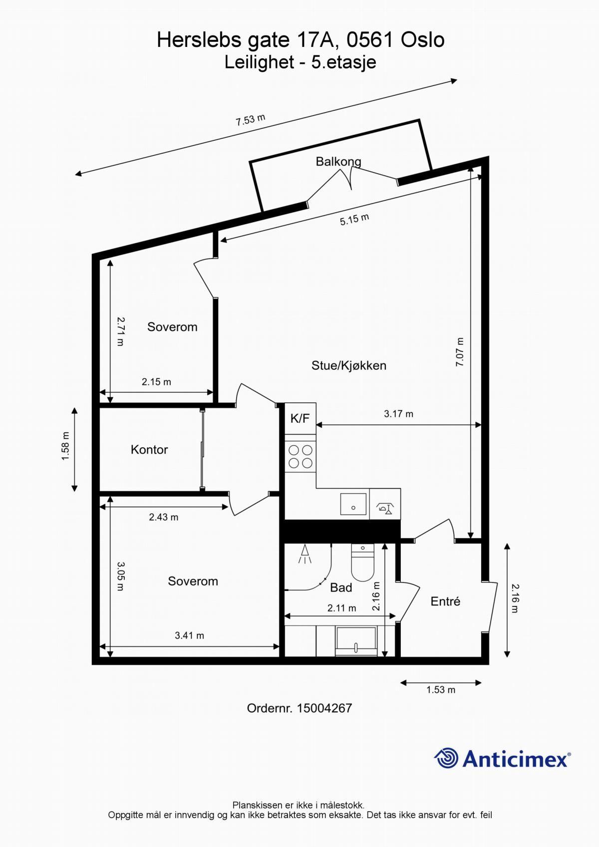 Herslebs gate 17A Dagens planløsning av leiligheten.