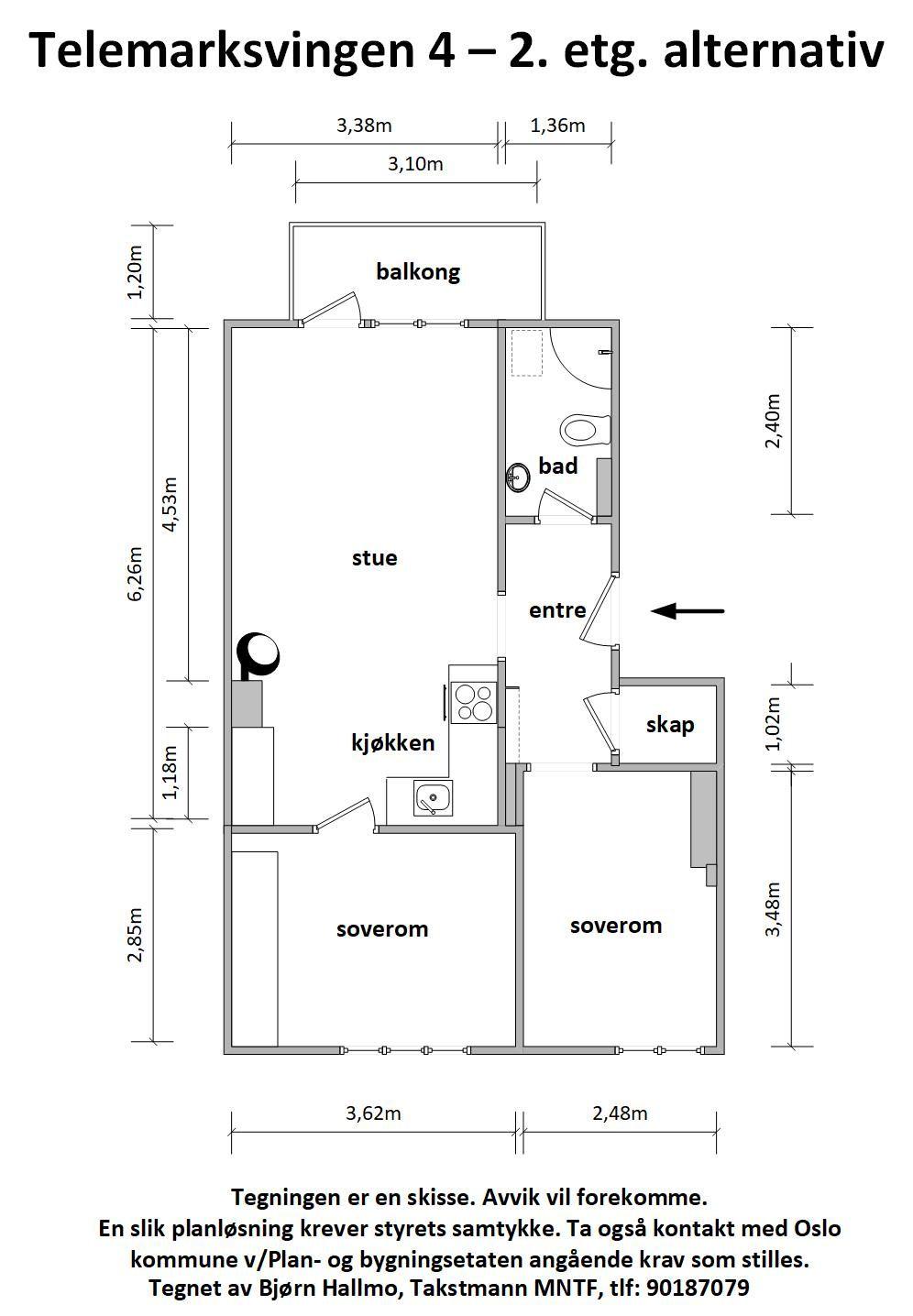Telemarksvingen 4 - Alternativ plantegning som 3-roms -