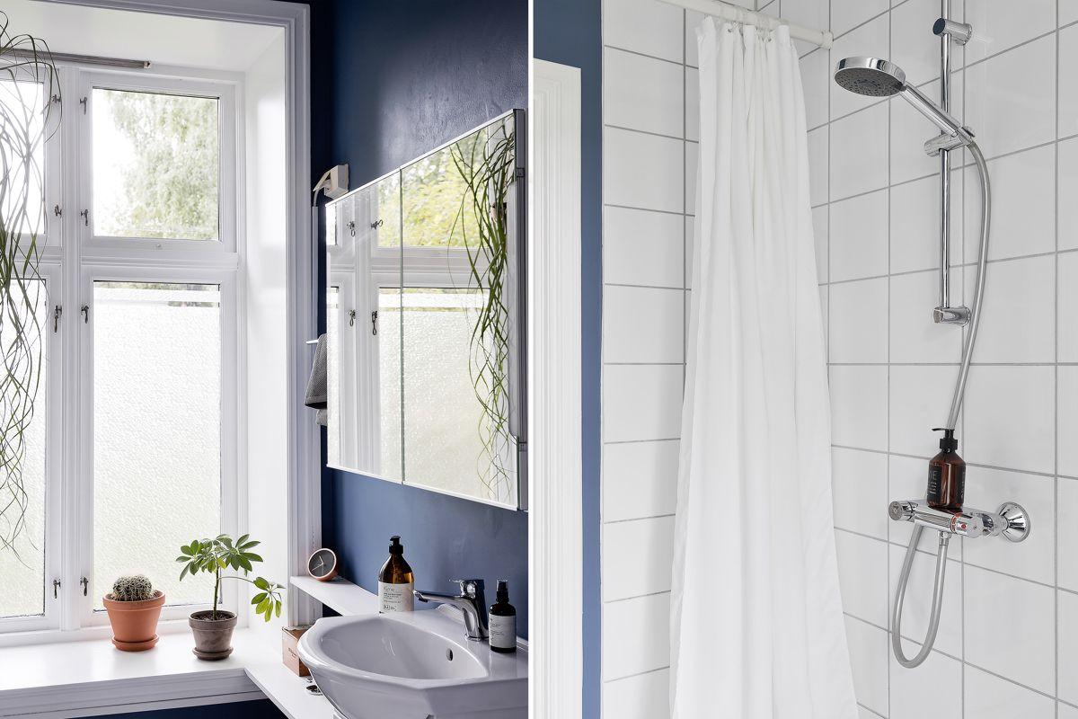 Helgesens gate 11 Badet består av dusjnisje, servant med underskap, opplegg for vaskemaskin/tørketrommel, toalett og ekstra oppbevaring med hyller fra Elfa.