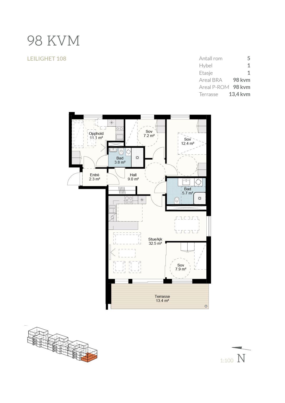 Brånåslunden Plantegning 98 kvm - leilighet 108