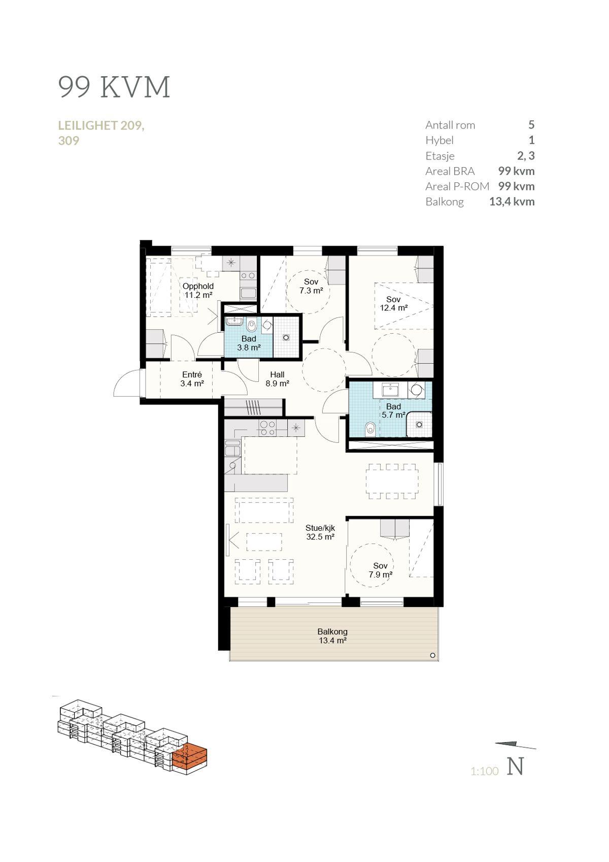 Brånåslunden Plantegning 99 kvm - leilighet 209 og 309