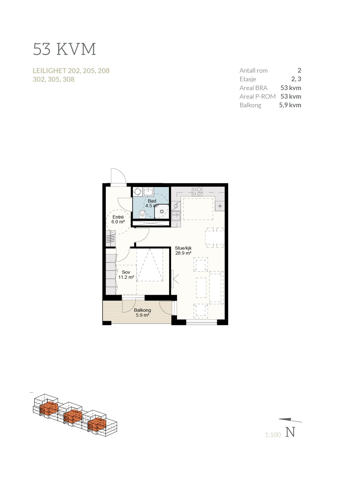 Brånåslunden Plantegning leilighet 308