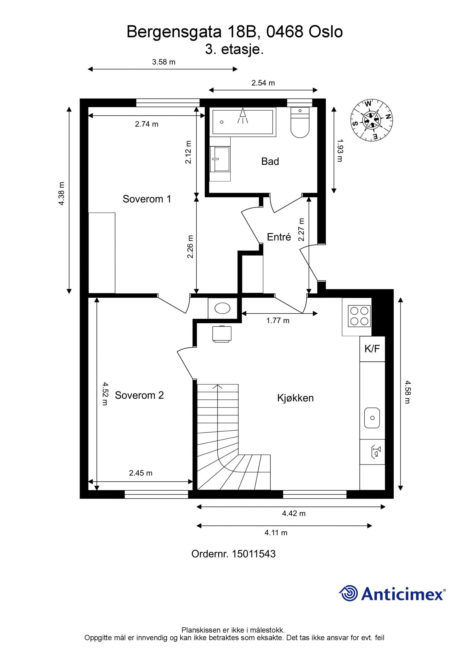 Bergensgata 18B Planskisse - Nedre plan