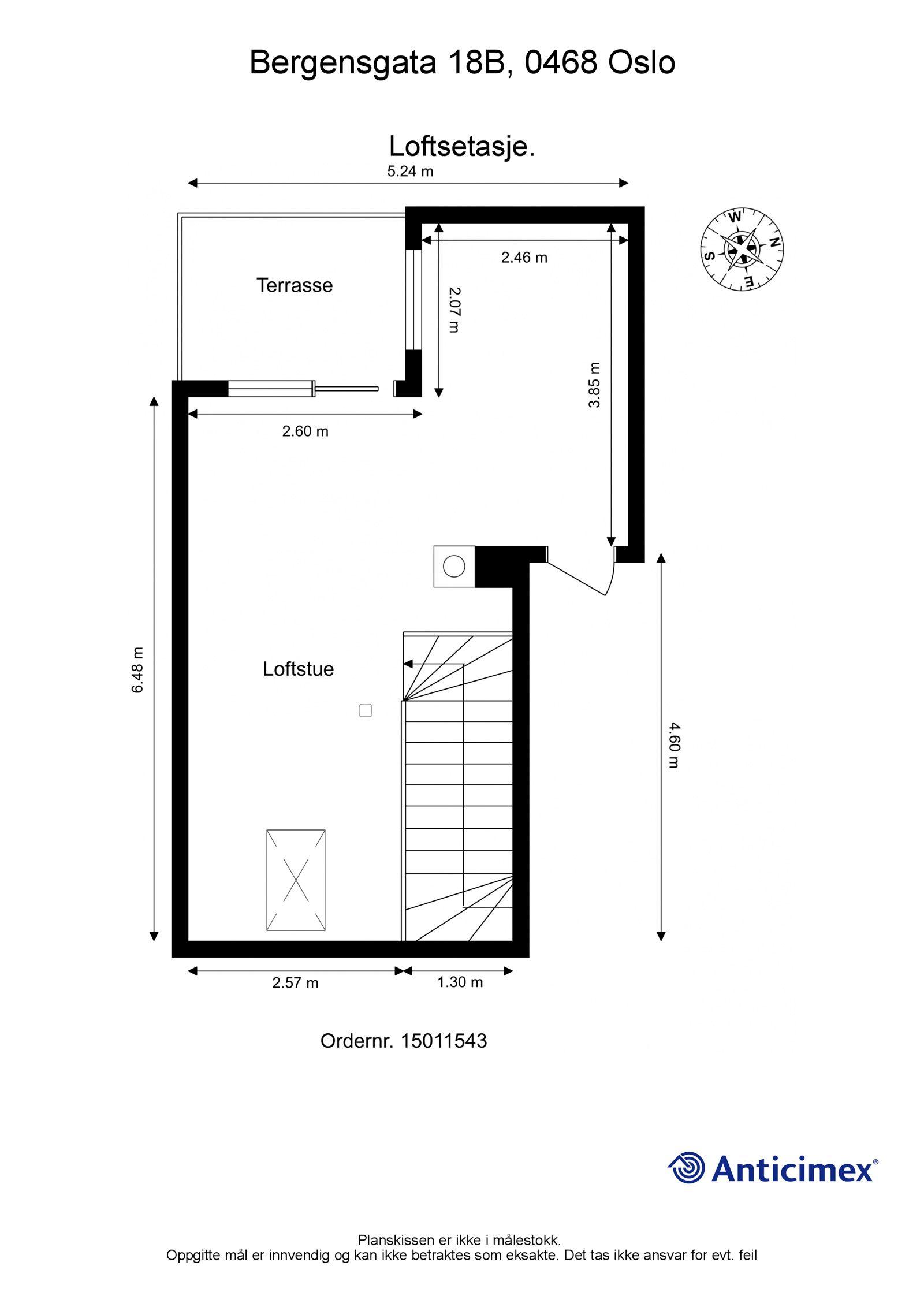 Bergensgata 18B Planskisse - Øvre plan
