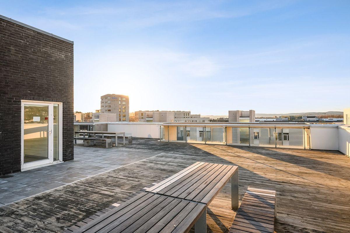 Gunnar Schjelderups vei 11L Flere takterrasser i sameiet i de flere av oppgangene hvor beboerne har tilgang.