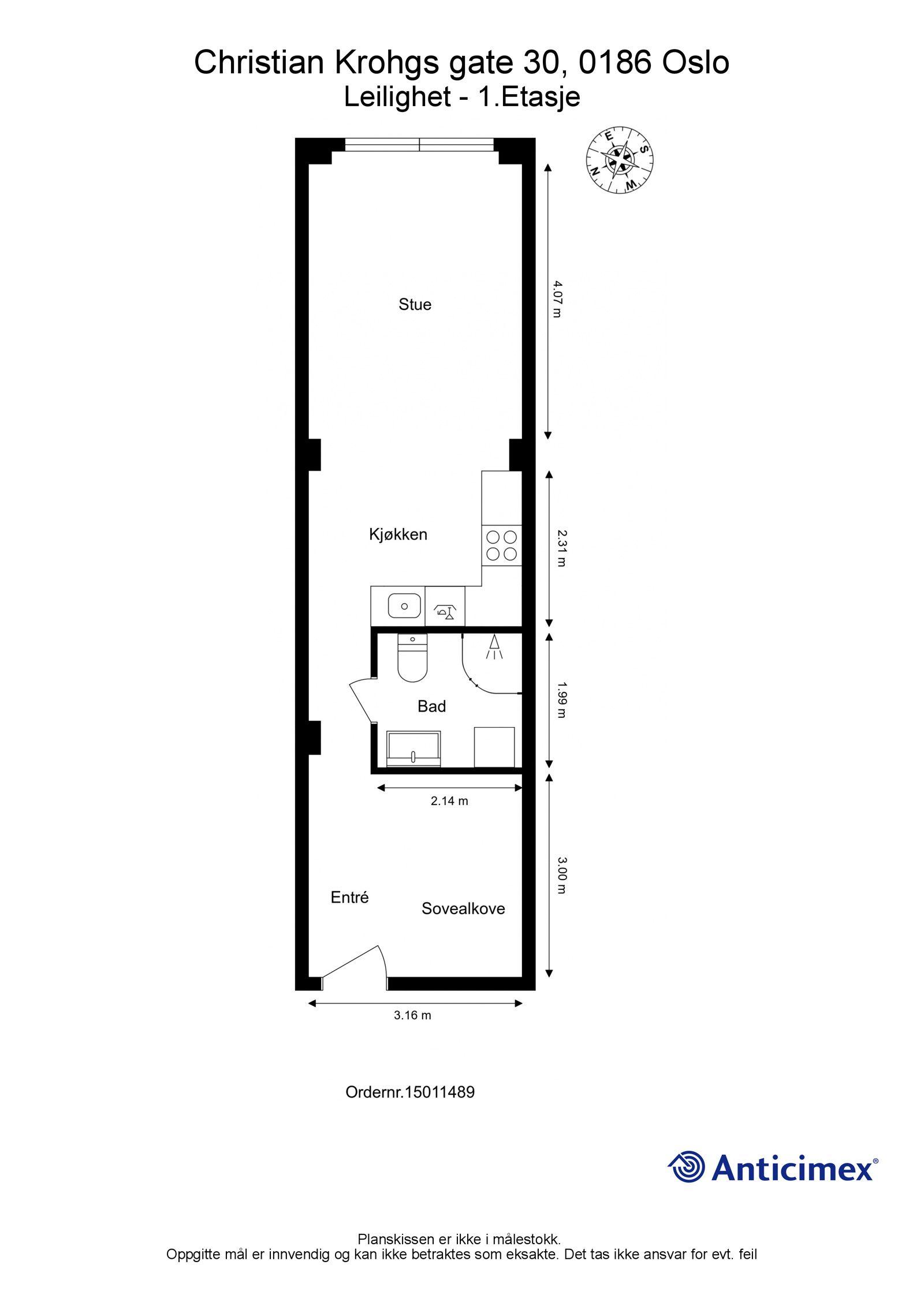 Christian Krohgs gate 30 Plantegning i 2D med mål og kompass.