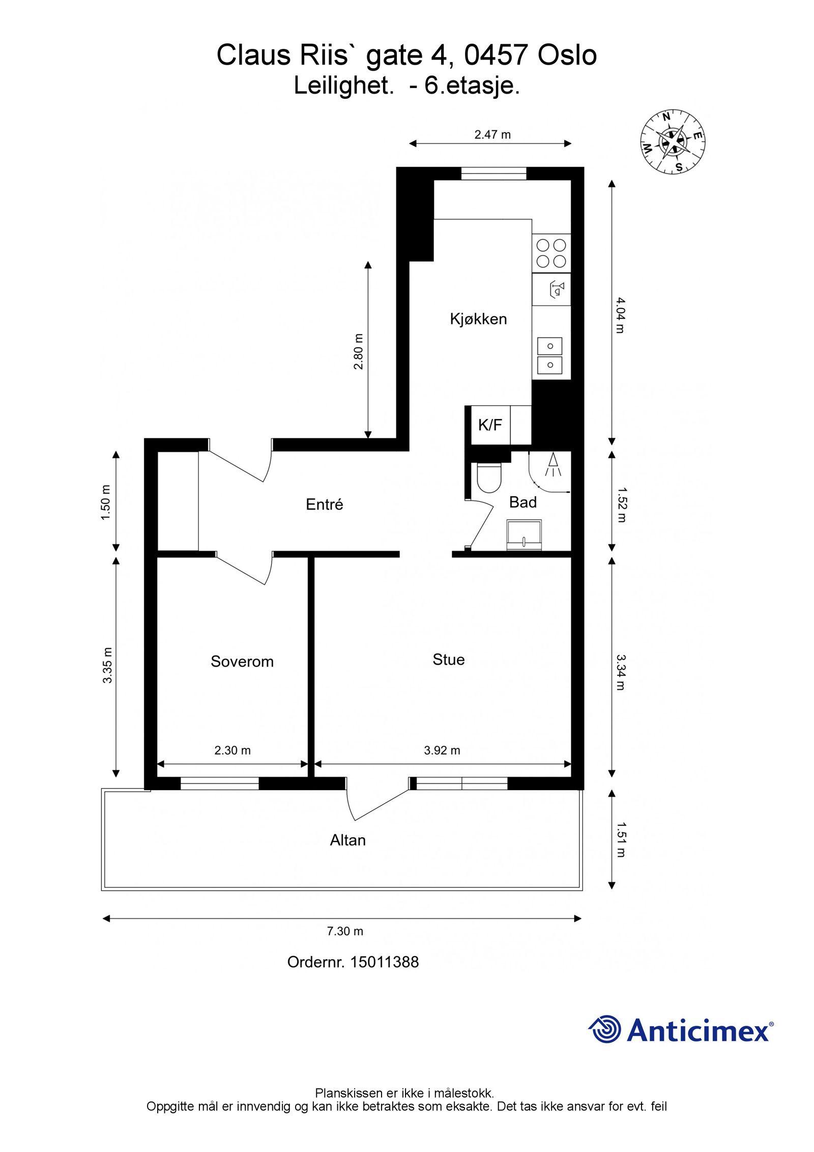 Claus Riis` gate 4 Plantegning. I tillegg disponeres en kjellerbod på ca. 4,8m², samt en loftsbod med gulvareal på ca. 8,8m². Heis i bygget.