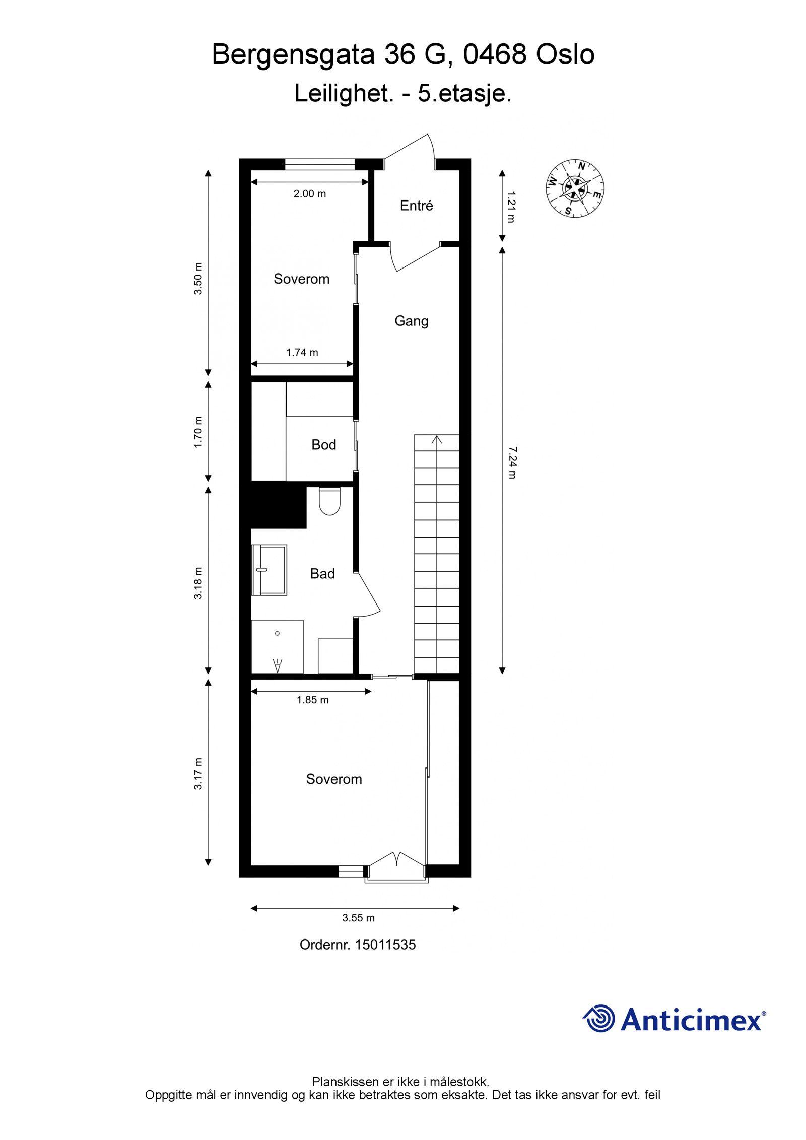 Bergensgata 36 G Plantegning 5. etasje. I tillegg disponerer leiligheten en garasjeplass med opplegg for elbil-lader, samt en kjellerbod på ca. 5,4m². Heisadkomst.