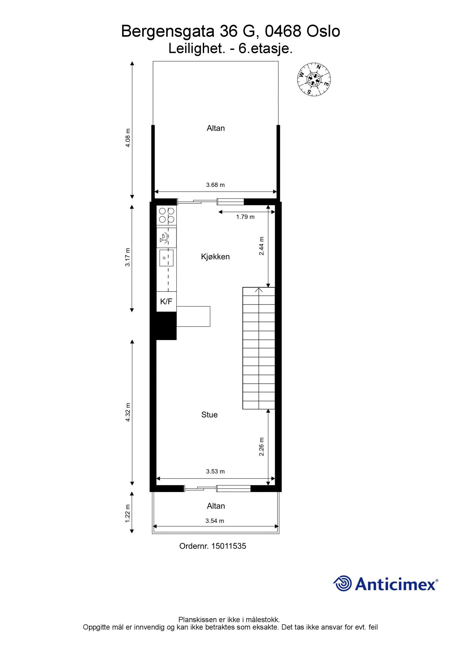 Bergensgata 36 G Plantegning 6. etasje. Leiligheten har en gjennomgående og god planløsning hvor toppetasjen har flotte oppholdsrom, sydvendt balkong med utsikt over byen og en fantastisk, solrik takterrasse mot bakgården.