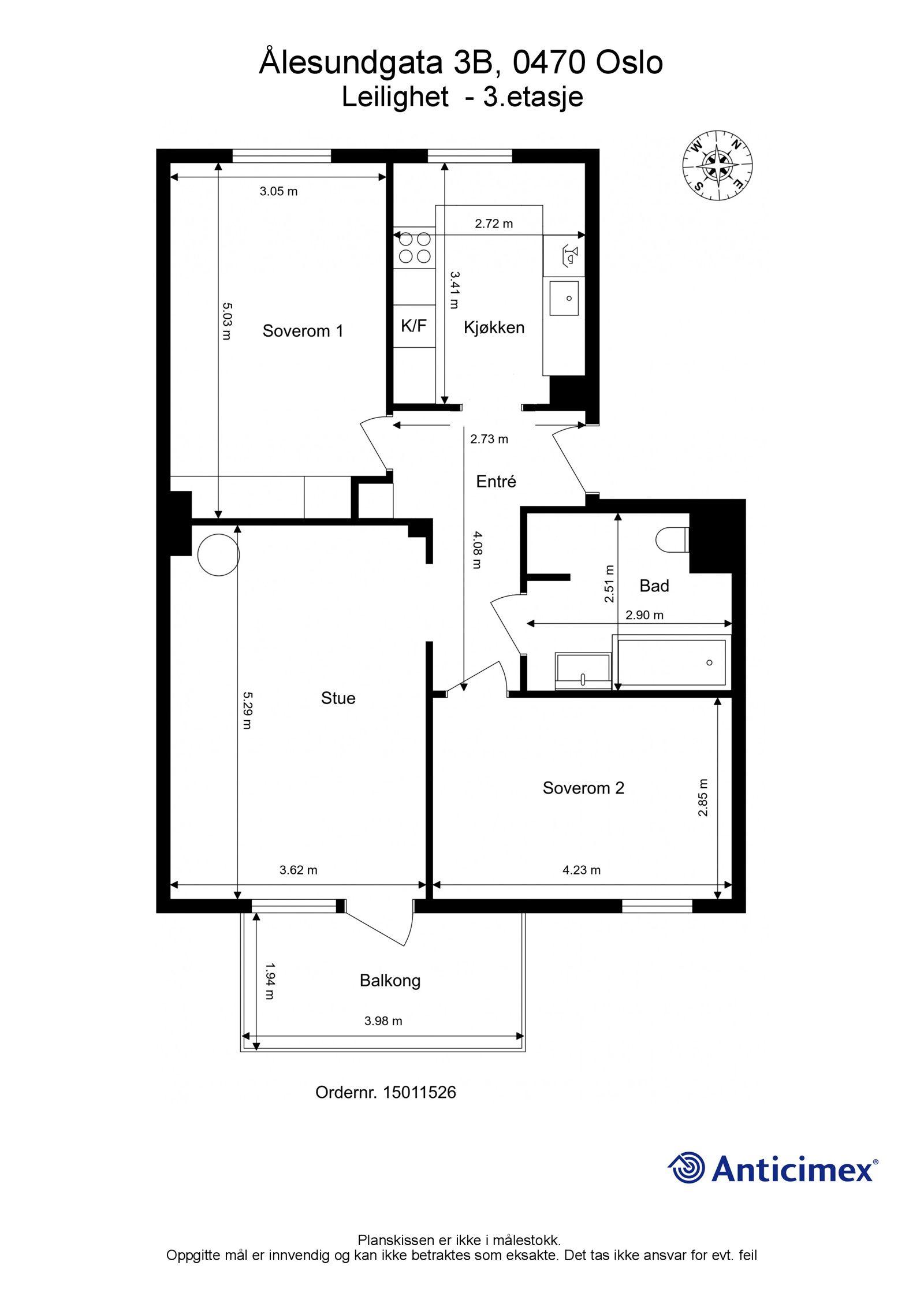 Ålesundgata 3 B Plantegning. I tillegg disponerer leiligheten to kjellerboder på ca. 7m² og ca. 1,7m², samt en loftsbod med gulvareal på ca. 19m².