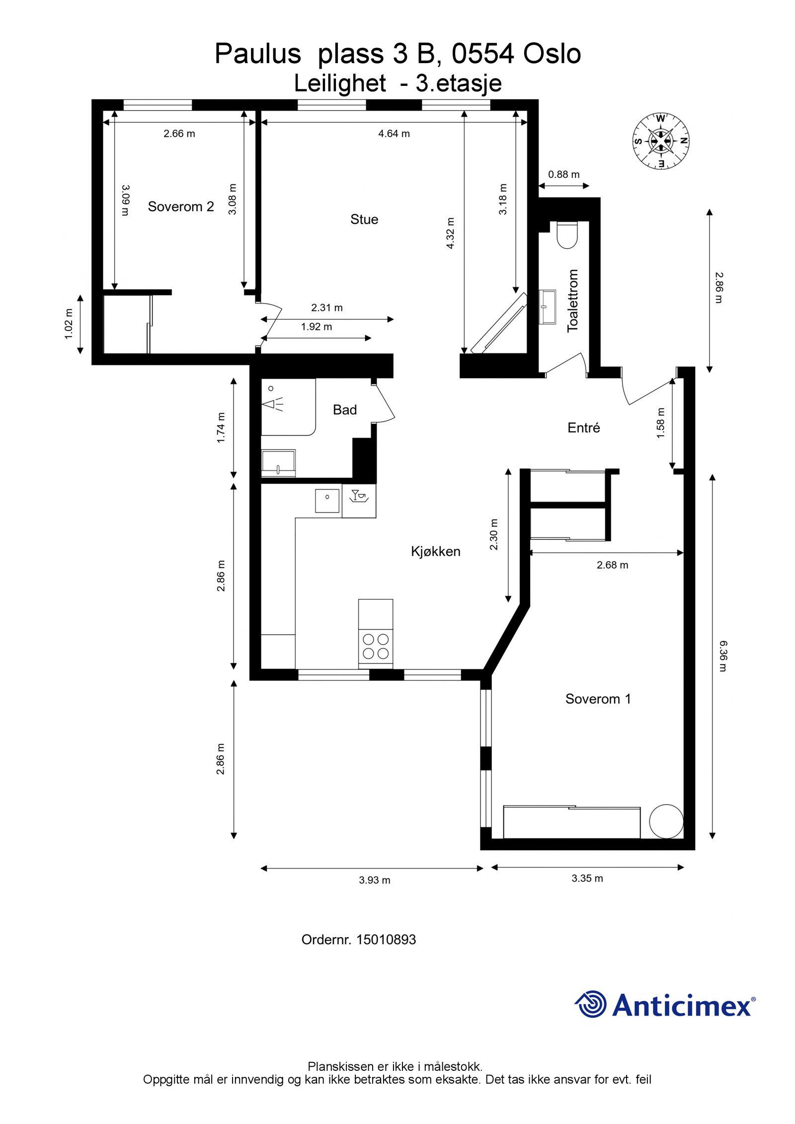 Paulus' plass 3 B Plantegning. I tillegg disponerer leiligheten en kjellerbod på ca. 7m², samt en loftsbod med gulvareal på ca. 4m².