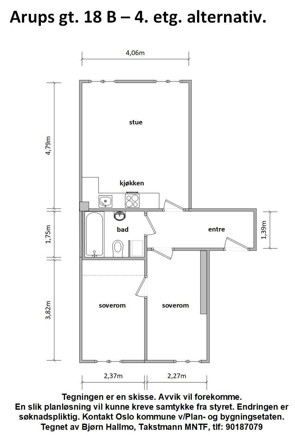 Arups gate 18 B - Alternativ plantegning som 3-roms -